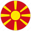 circular, country, flag, macedonia, national, national flag, rounded