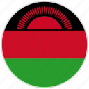 circular, country, flag, malawi, national, national flag, rounded
