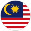 circular, country, flag, malaysia, national, national flag, rounded icon
