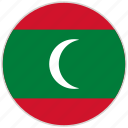 circular, country, flag, maldives, national, national flag, rounded