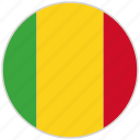 circular, country, flag, mali, national, national flag, rounded