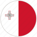 circular, country, flag, malta, national, national flag, rounded