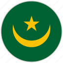 circular, country, flag, mauritania, national, national flag, rounded icon