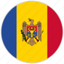 circular, country, flag, moldova, national, national flag, rounded