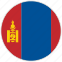 circular, country, flag, mongolia, national, national flag, rounded