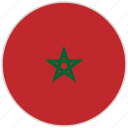 circular, country, flag, morocco, national, national flag, rounded