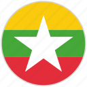 circular, country, flag, myanmar, national, national flag, rounded icon