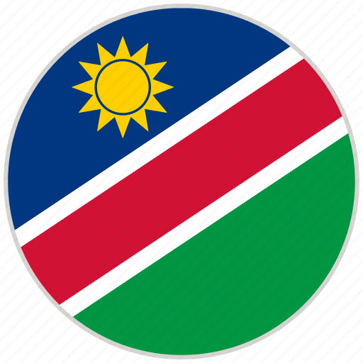 circular, country, flag, namibia, national, national flag, rounded icon