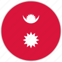 circular, country, flag, national, national flag, nepal, rounded