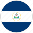 circular, country, flag, national, national flag, nicaragua, rounded