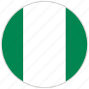 circular, country, flag, national, national flag, nigeria, rounded