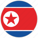 circular, country, flag, national, national flag, north korea, rounded