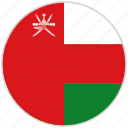 circular, country, flag, national, national flag, oman, rounded