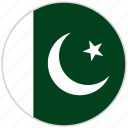 circular, country, flag, national, national flag, pakistan, rounded