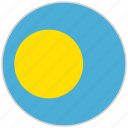 circular, country, flag, national, national flag, palau, rounded