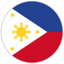 circular, country, flag, national, national flag, philippines, rounded