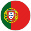circular, country, flag, national, national flag, portugal, rounded