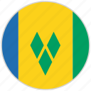 circular, country, flag, national, national flag, rounded, saint vincent and grenadines