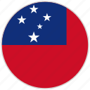 circular, country, flag, national, national flag, rounded, samoa icon