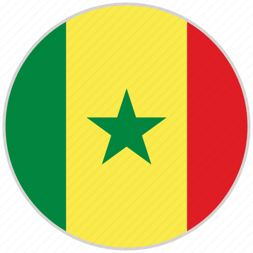 circular, country, flag, national, national flag, rounded, senegal icon