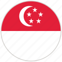 circular, country, flag, national, national flag, rounded, singapore