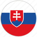circular, country, flag, national, national flag, rounded, slovakia