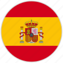 circular, country, flag, national, national flag, rounded, spain