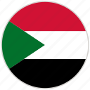 circular, country, flag, national, national flag, rounded, sudan