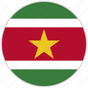 circular, country, flag, national, national flag, rounded, suriname