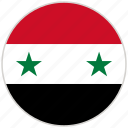 circular, country, flag, national, national flag, rounded, syria