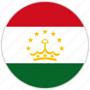 circular, country, flag, national, national flag, rounded, tajikistan icon