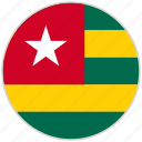 circular, country, flag, national, national flag, rounded, togo