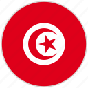 circular, country, flag, national, national flag, rounded, tunisia icon