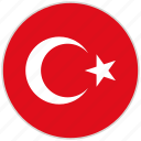 circular, country, flag, national, national flag, rounded, turkey