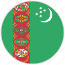 circular, country, flag, national, national flag, rounded, turkmenistan icon