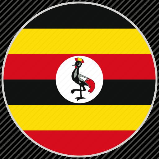 circular, country, flag, national, national flag, rounded, uganda icon