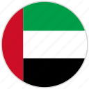 circular, country, flag, national, national flag, rounded, united arab emirates