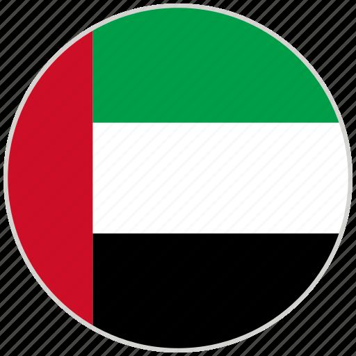 circular, country, flag, national, national flag, rounded, united arab emirates icon