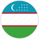 circular, country, flag, national, national flag, rounded, uzbekistan