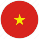 circular, country, flag, national, national flag, rounded, vietnam
