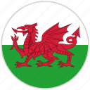 circular, country, flag, national, national flag, rounded, wales