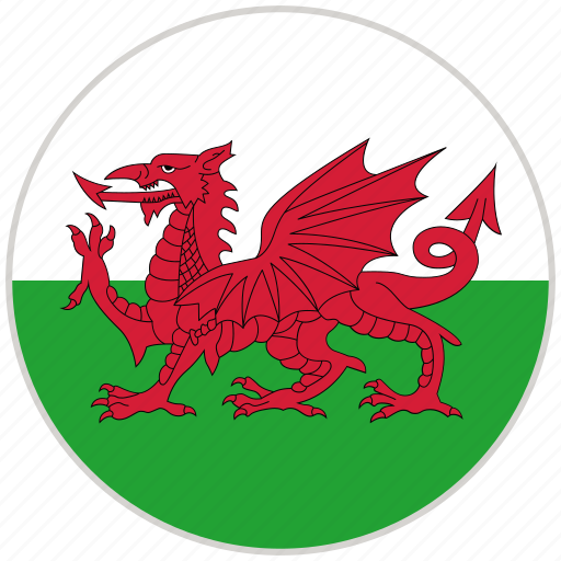 circular, country, flag, national, national flag, rounded, wales icon