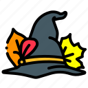 autumn, hat, leaves, witch