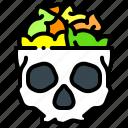 candy, dessert, halloween, skull
