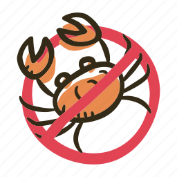 allergens, allergy, animal, crab, ingredient, meat, seafood icon