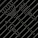 garden tools, gardening, nature, plant, rake, tool icon