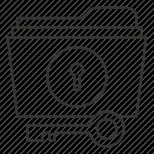 folder, key, lock, password, safety, secret, security icon