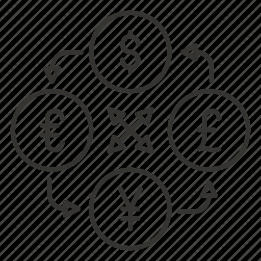 currency, dollar, exchange, finance, money, pound, yen icon