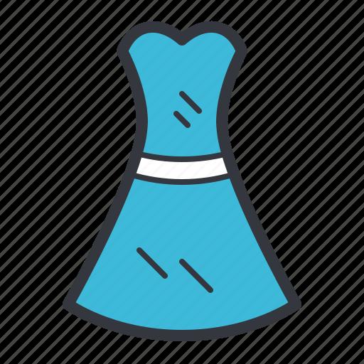 blue, clothing, dress, fashion, woman icon