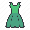 cartoon, clothes, dress, green, illustration, woman icon